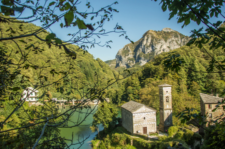 Ancient village hidden in the heart of the Apuan Alps in Tuscany, Italy