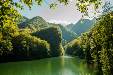 Hidden Lake in the heart of the Apuan Alps in Tuscany Stock Photo