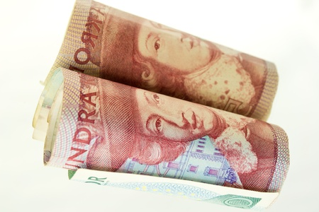 A mirror image of a banknote roll photo