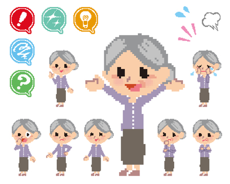 hesitation: Pose and the various faces of the old woman_Pixel  Illustration