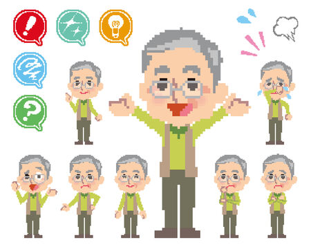 hesitation: Pose and the various faces of grandfather_Pixel  Illustration