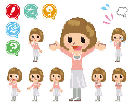 ポーズと women_Pixel の様々 な顔  イラスト・ベクター素材