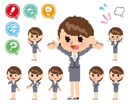 scold: Pose and the various faces of women in a suit_Pixel  Illustration