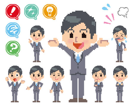 scold: Pose and the various faces of men in a suit_Pixel