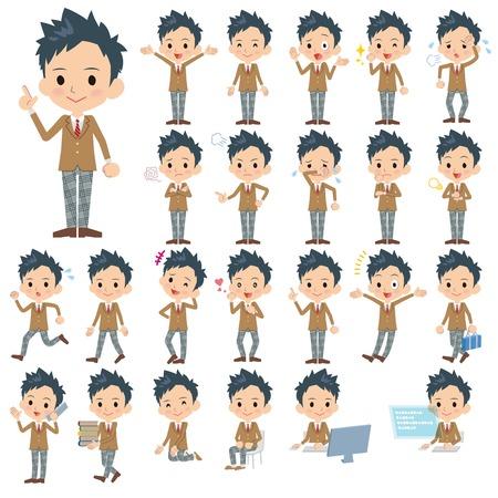blazer: Set of various poses of Schoolboy