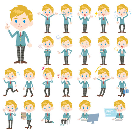 Set of various poses of Caucasian schoolboy Illustration