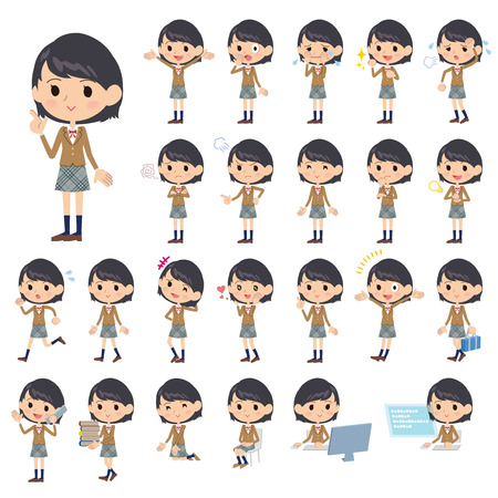 blazer: Set of various poses of Girl student