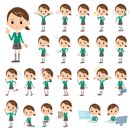 Set of various poses of Girl student