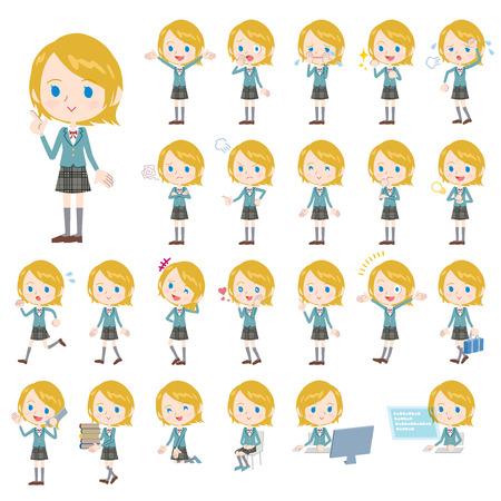 blazer: Set of various poses of Caucasian schoolgirl
