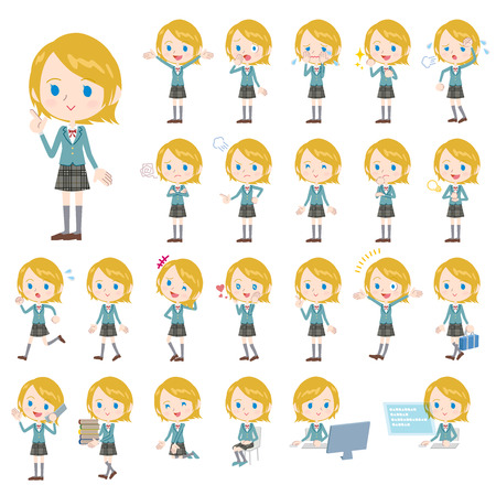 Set of various poses of Caucasian schoolgirl