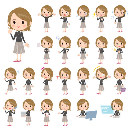 Set of various poses of Stylish Young woman