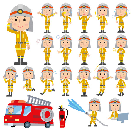 Set of various poses of The firemans Illustration