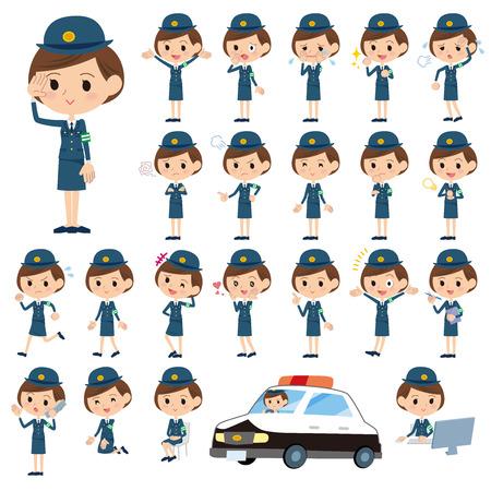 accident woman: Conjunto de varias poses de mujer polic�a Vectores