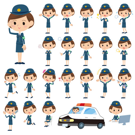 Set of various poses of policeWoman Çizim