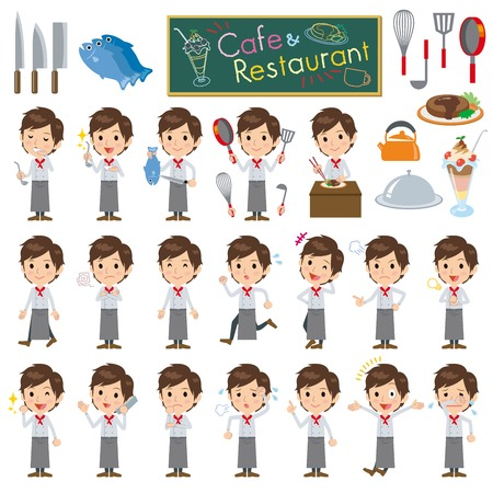 workwear: Set of various poses of Youngmen cook Illustration