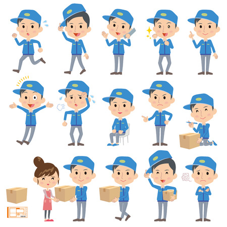 Set of various poses of Deliverymen