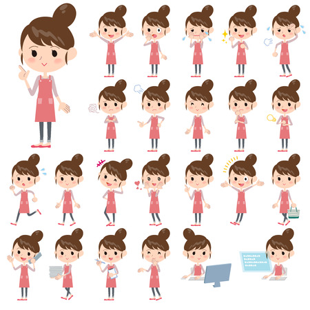 homemaker: Set of various poses of Apron Bun hair mom