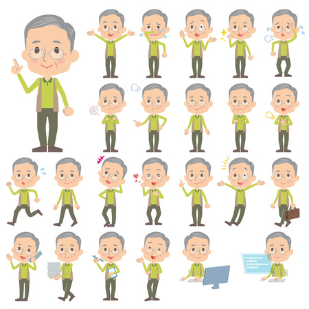 old people smiling: Set of various poses of Green vest grandfather Illustration