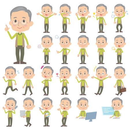 Set van verschillende poses van Groen vest grootvader
