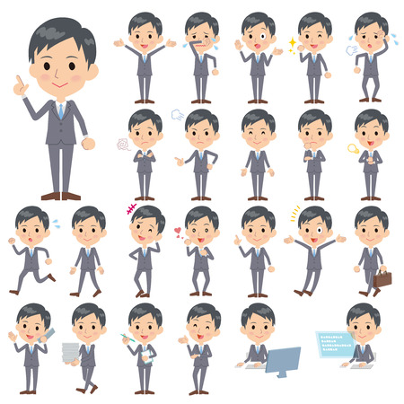 gray suit: Set of various poses of Gray Suit Businessman