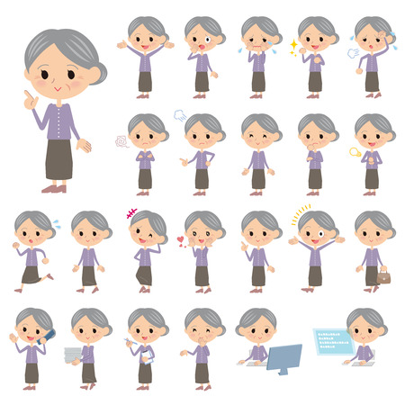 Set of various poses of Purple clothes grandmother