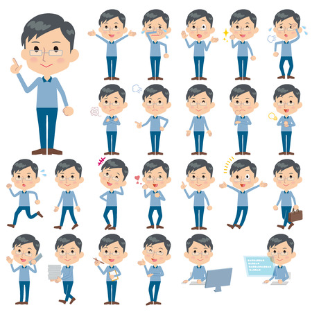 Set of various poses of Blue clothing glass dad