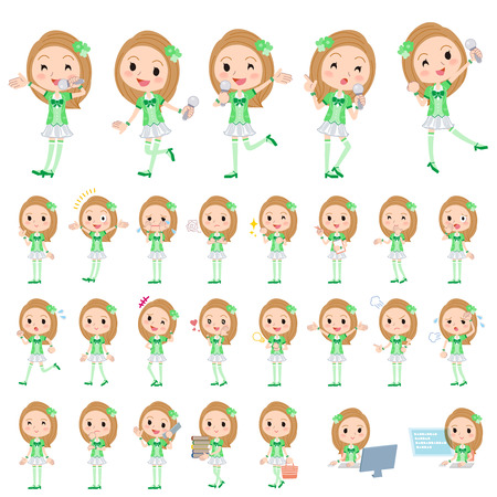 Set of various poses of Pop idol in green costume Illustration