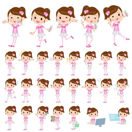 pop idol: Set of various poses of Pop idol in pink costume
