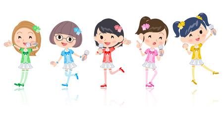 Vijf kleuren Leuke Pop idol in kostuum