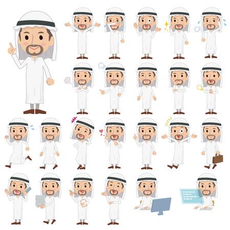 telefono caricatura: Conjunto de varias actitudes de los hombres árabes