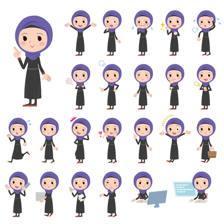 Set of various poses of Arab women Illustration