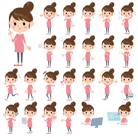 variations set: Set of various poses of Pregnant woman Illustration