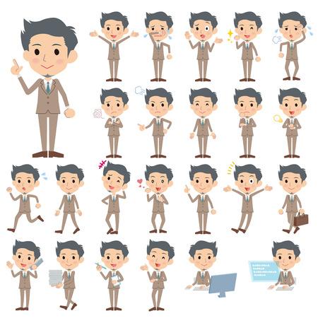 Set of various poses of Beige suit short hair beard man