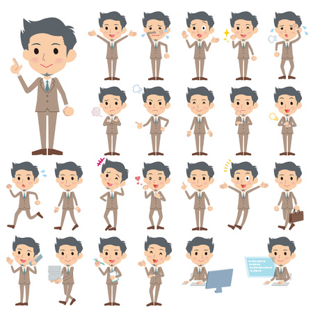 Set of various poses of Beige suit short hair beard man