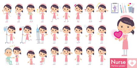upset woman: Set of various poses of Nurse