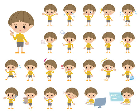 bobbed: Set of various poses of Yellow clothes Bobbed boy