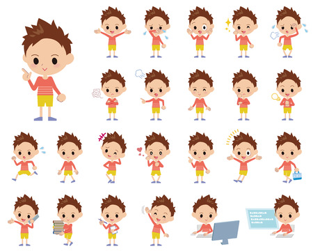 Set of various poses of Red clothing short hair boy