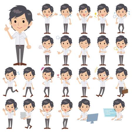 short sleeved: Set of various poses of White short sleeved shirt business men Illustration