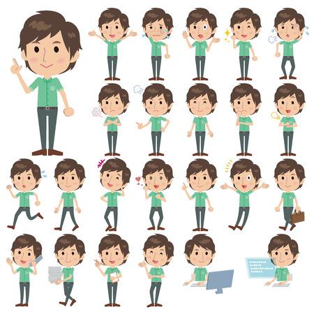 Set of various poses of Green shortsleeved shirt Men  イラスト・ベクター素材