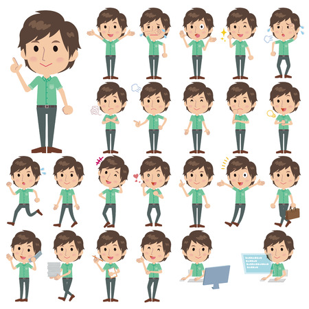 Set of various poses of Green shortsleeved shirt Men 向量圖像