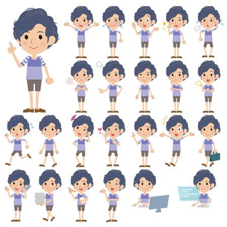 perm: Set of various poses of Two-tone T-shirts half pants perm hair men Illustration