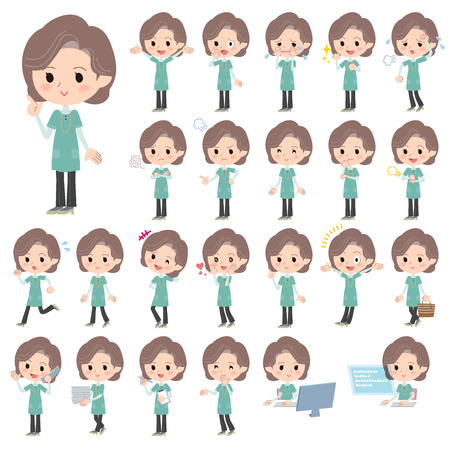 middle: Set of various poses of Blue-green tunic Middle woman Illustration
