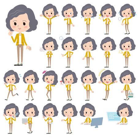 yellow jacket: Set of various poses of Yellow jacket Middle woman