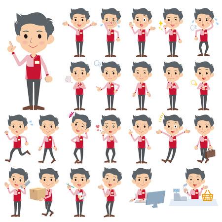 hombre rojo: Conjunto de varias actitudes de tienda de conveniencia uniformes rojos hombres Vectores
