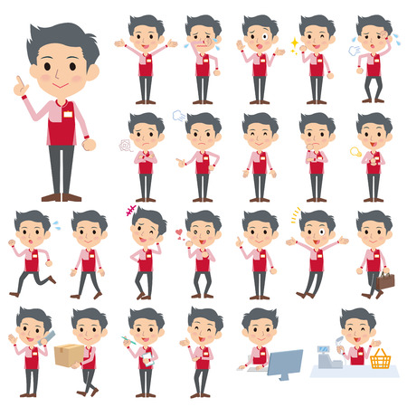 convenience store: Set of various poses of Convenience store red uniforms men Illustration