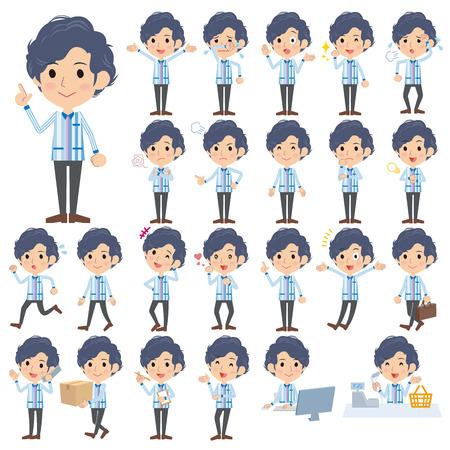 Set of various poses of Convenience store Blue uniforms men