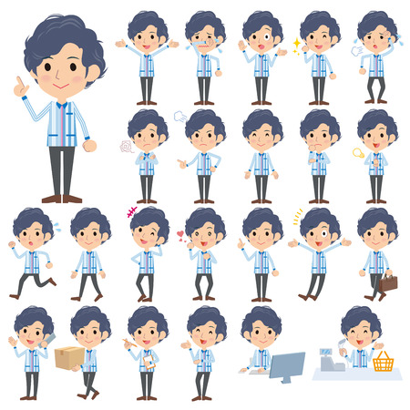 convenience store: Set of various poses of Convenience store Blue uniforms men