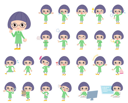 Set of various poses of Green clothes Bobbed Glasses girl Illustration