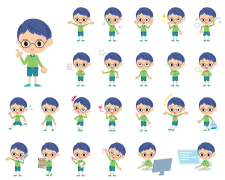 Set of various poses of Green clothing glasses boy