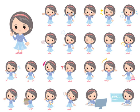 Set of various poses of Blue clothes headband girl